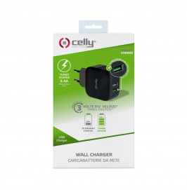 Ładowarka sieciowa Celly Travel Charger Turbo 2 Usb 3.4A